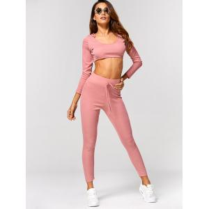 Plain Hooded Crop Top and Ninth Pants - PINK XL