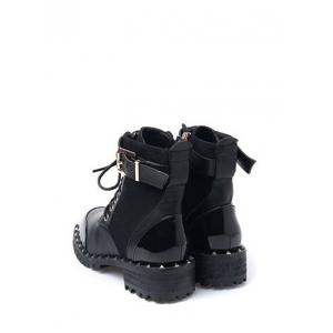 Rivets Tie Up Splicing Ankle Boots - BLACK 39