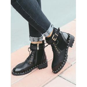 Rivets Tie Up Splicing Ankle Boots -