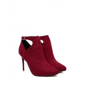 Suede Stiletto Heel Cut Out Ankle Boots -