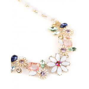 Faux Crystal Flower Necklace -