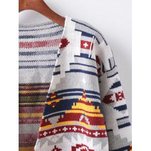 Buttonless Argyle Cocoon Cardigan -