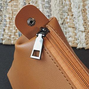 Stitching Drawstring PU Leather Shoulder Bag -