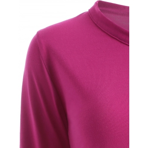 Button Design Draped Slimming T-Shirt - ROSE MADDER XL