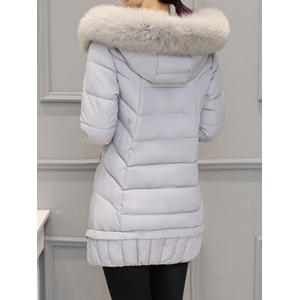Asymmetrical Hooded Padded Coat - GRAY XL