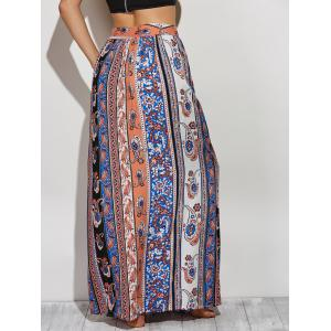 Bohemian Paisley Pattern High Slit Maxi Skirt -