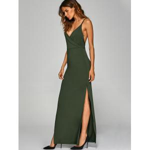Backless High Split Surplice Maxi Club Dress - ARMY GREEN XL