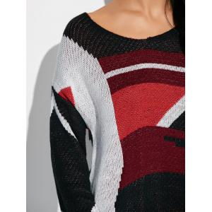 Color Block Relaxed Fit Sweater - COLORMIX ONE SIZE