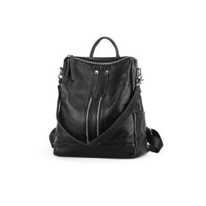 Textured Leather Multi Zips Backpack -