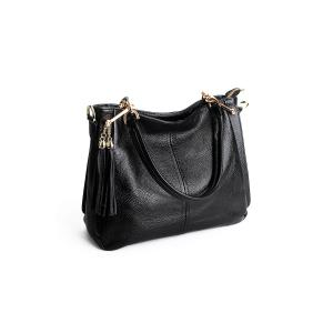 Leather Double Tassels Shoulder Bag - BLACK