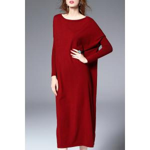 Midi Sweater Dress With Batwing Sleeve - DEEP RED XL