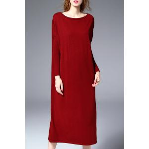 Midi Sweater Dress With Batwing Sleeve - Deep Red - Xl