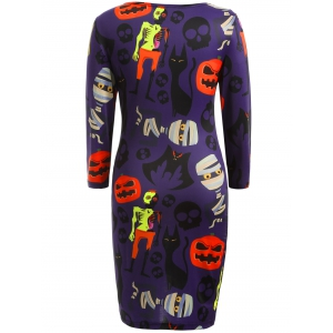 Skull Pumpkin Print Halloween Bodycon Dress - Pourpre 3XL