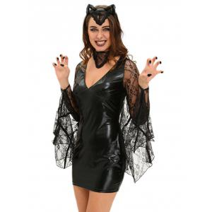 Bat Cosplay Suit Long Sleeve Faux Leather Dress Halloween Costume -