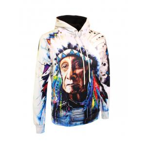 Indian Printed Drawstring Pullover Hoodie - COLORMIX 3XL