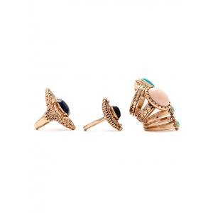 Alloy Faux Gem Ring Set -