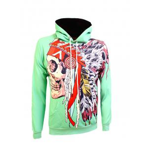 Kangaroo Pocket Drawstring Œillet Graphic Hoodie - Vert 3XL