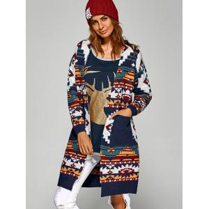 Active Christmas Geometry Pattern Knit Cardigan -