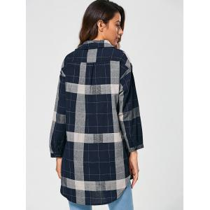 Checked Vintage Linen Shirt - BLUE XL