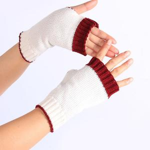Double Color Knitted Fingerless Gloves - WHITE