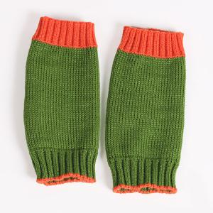 Double Color Knitted Fingerless Gloves - GREEN