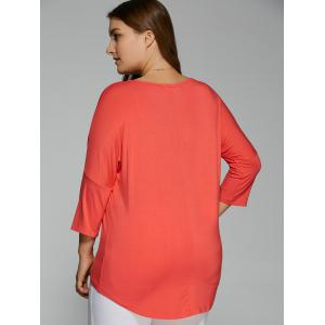 Plus Size Batwing Sleeve High Low T-Shirt -