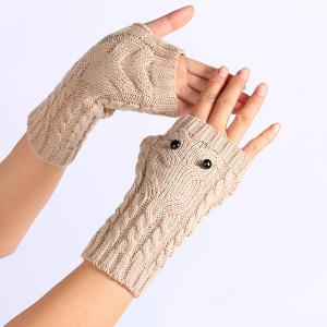 Twist Knitted Owl Fingerless Gloves -