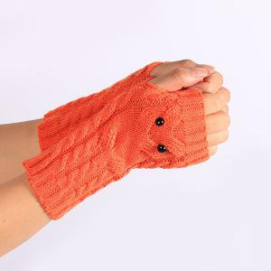 Twist Knitted Owl Fingerless Gloves - JACINTH