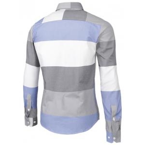 Contrast Color Striped Long Sleeve Shirt -