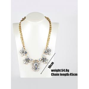 Faux Crystal Flower Pendant Necklace -