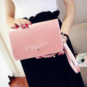 Letter Embossed Patent Leather Crossbody Bag -