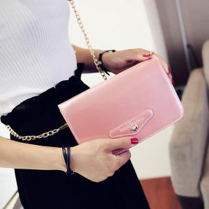 Letter Embossed Patent Leather Crossbody Bag - PINK