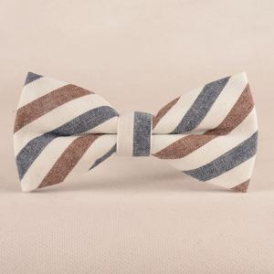Stripe Print Tie Pocket Square and Bow Tie - DISTANT BLUE