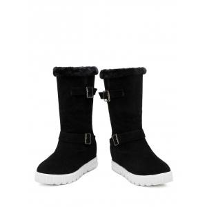 Double Buckles Hidden Wedge Snow Boots -