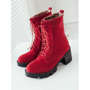Mid Heel Lace-Up Combat Boots -