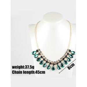 Rhinestone Faux Emerald Teardrop Necklace - DEEP GREEN