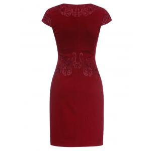 Embroidered Vintage Sheath Dress - WINE RED 3XL