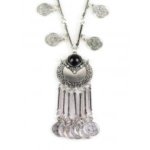 Coin Fringe Pendant Necklace -