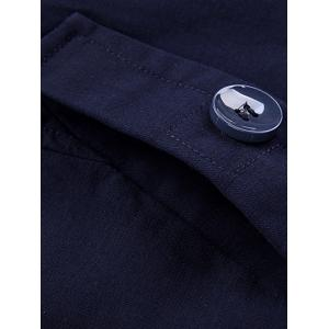 Stand Collar Single-Breasted Zipper Embellished Coat - DEEP BLUE 3XL
