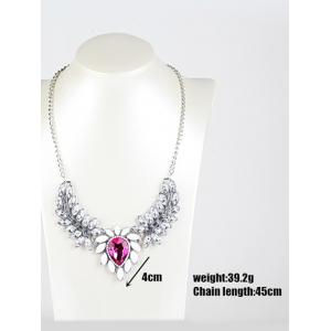 Faux Crystal Wings Pendant Necklace -