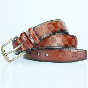 Casual Pin Buckle PU Plaid Belt -