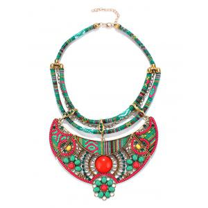 Ethnic Floral Enamel Statement Necklace - GREEN