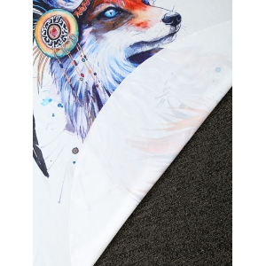 Creative Fox Print Round Blanket Throw - WHITE ONE SIZE(FIT SIZE XS TO M)