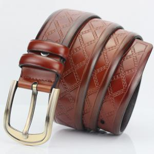 Casual Pin Buckle PU Cirss Cross Emboss Belt - Brun Doré