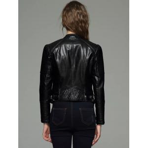 Embossed Cropped PU Leather Jacket -