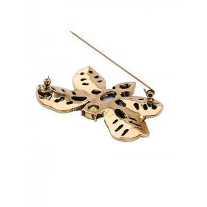 Faux Gem Oval Leaf Butterfly Brooch -