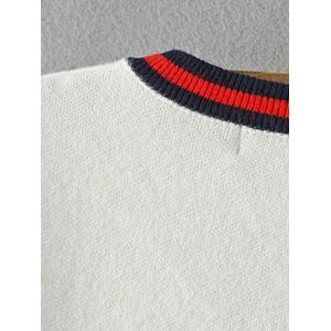 Bird Embroidered Stripe  Sweater - BLACK ONE SIZE