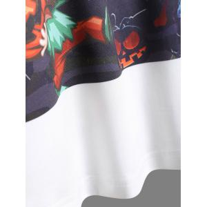 Raglan Sleeves Pumpkin Skull Print Halloween T-Shirt - WHITE AND BLACK 5XL