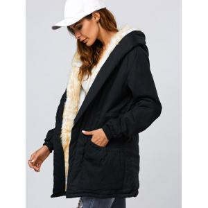 Double Pocket Parka Long Winter Padded Coat Jacket with Hood - BLACK M