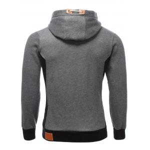 PU-cuir Splicing Color Block Hoodie - Gris S